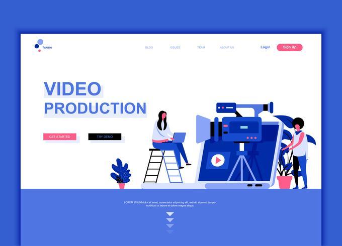 Moderne platte webpagina ontwerpsjabloon concept van videoproductie