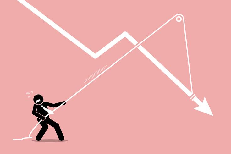 Businessman pulling a falling arrow graph chart from further dropping down.