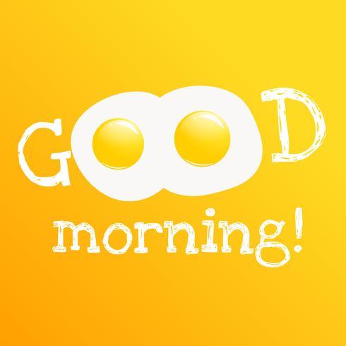 Bom dia banner. Pequeno-almoço saboroso clássico de ovos mexidos. Vetorial, caricatura, ilustração vetor