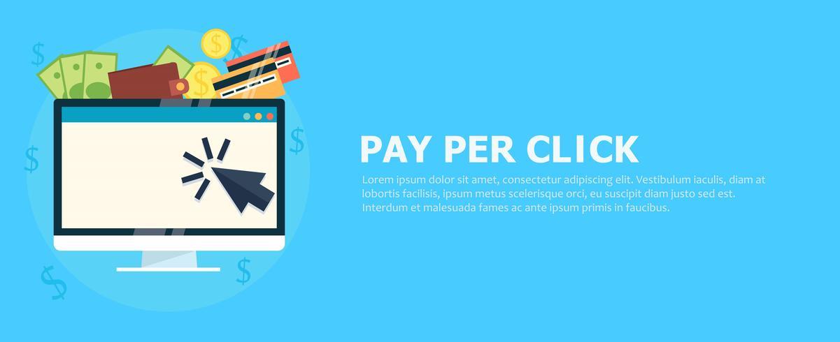 Pay-per-Click-Banner Computer mit Geld. Flache Vektorillustration