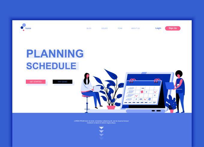 Conceito de modelo de design moderno web página plana do cronograma de planejamento