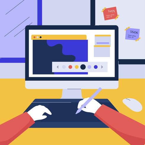 Illustrazione di vettore del software di progettazione grafica