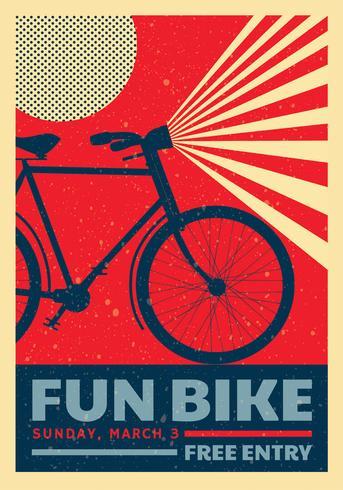 Retro disegno di vettore del manifesto della bici di divertimento