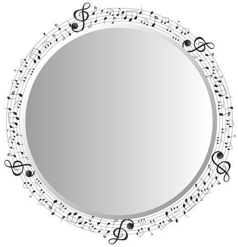 Modelo de quadro com notas musicais em círculo vetor