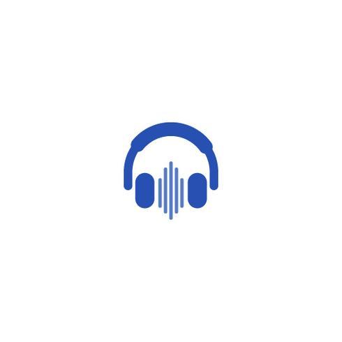 Logo con le cuffie. Amore per la musica in cuffia. Logotipo di gradiente di vettore online radio