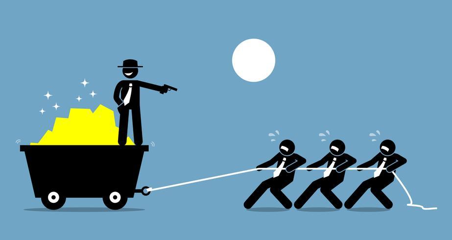 Chef zwingt Angestellte und Arbeiter zur Arbeit, indem er sie mit einer Waffe bedroht. vektor