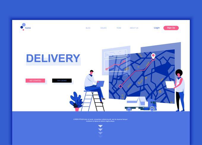 Modernes flaches Webseitendesign-Schablonenkonzept der weltweiten Lieferung