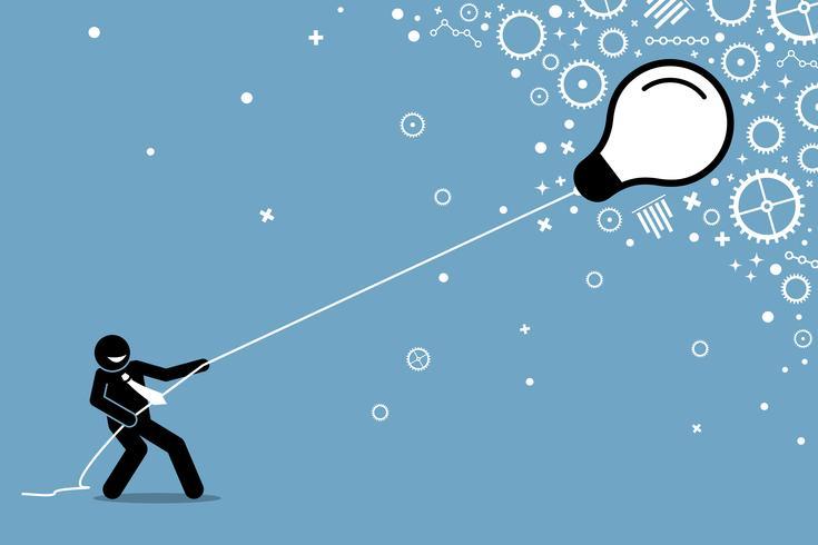 Affärsman drar en flygande flytande glödlampa på en sträng.