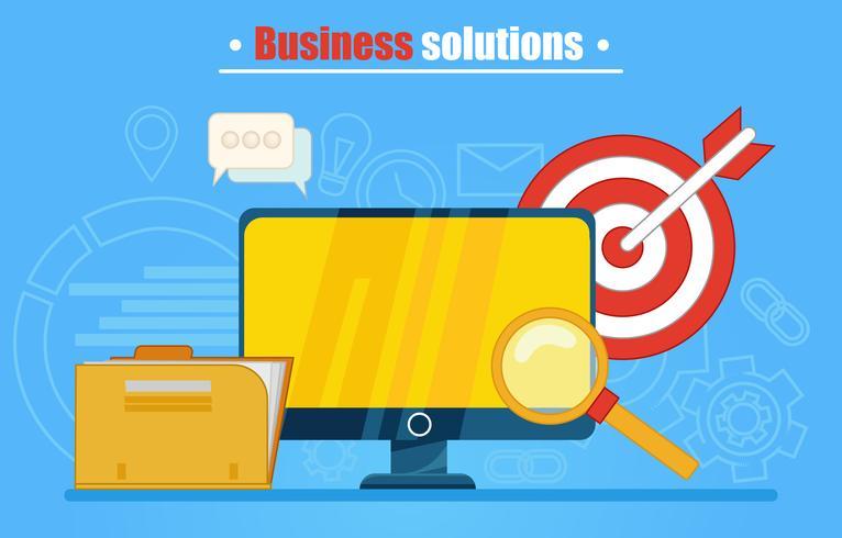Banner de soluções de negócios ou plano de fundo. Computador com pasta, lupa, dardos e ícones. Ilustração vetorial plana vetor