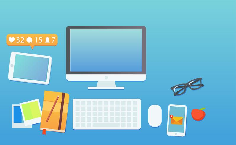 O local de trabalho de um blogueiro ou um seo de trabalho. Computador e alertas no telefone e mensagens no telefone. Trabalhe nas estatísticas do blog. ilustração plana vetor