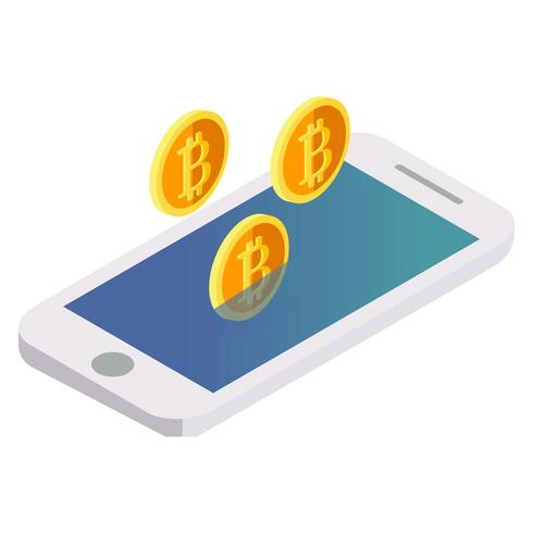 Bitcoin flies out of the phone. Vector isometric illustration