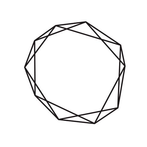 Diamante geométrico de tinta preta com lugar para texto vetor
