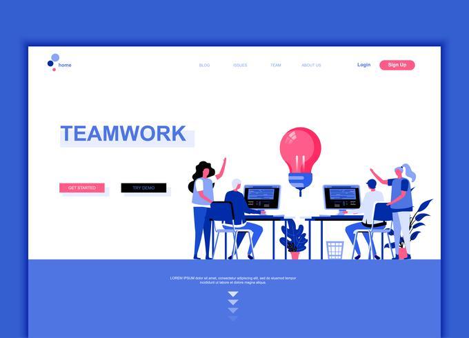 Conceito de modelo de design moderno web página plana de trabalho em equipe