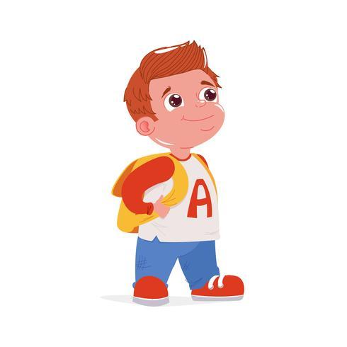 De jongen gaat naar school met een tas. Kinderen studeren dag. Vector cartoon illustratie
