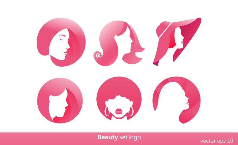 Set de 6 logos rosa para salones de belleza, peluquerías. Estilistas de logotipo degradado. Vector ilustración plana