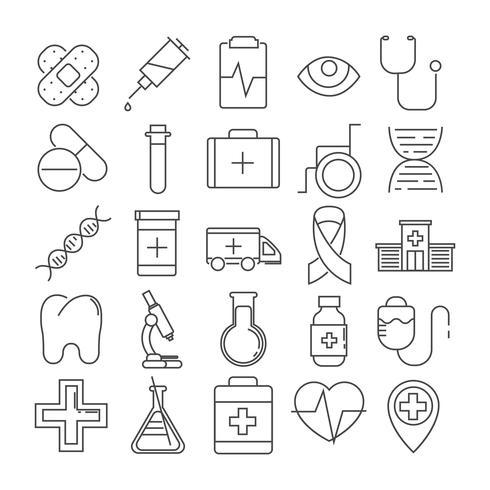 Conjunto de 25 iconos de línea de tema médico