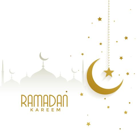 ramadan kareem background avec mosquée et lune d'or
