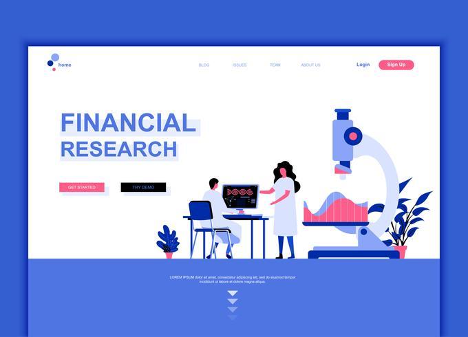 Concepto de plantilla de diseño de página web plana moderna de investigación financiera