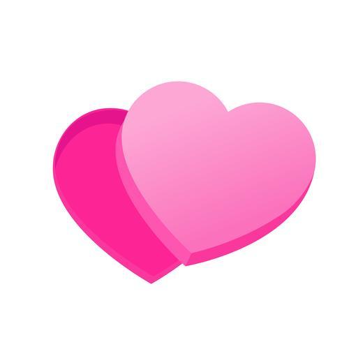 Caixa vazia de chocolates em forma de coração. Ilustração vetorial