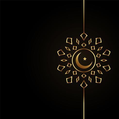 islamisk guldmånedesign på svart bakgrund
