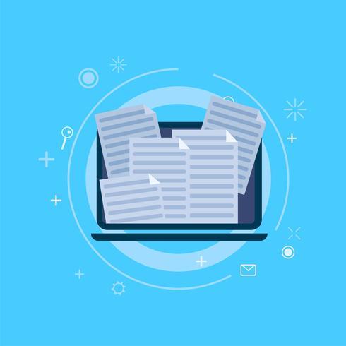 Spamming en el correo informático. Vector ilustración banner plana