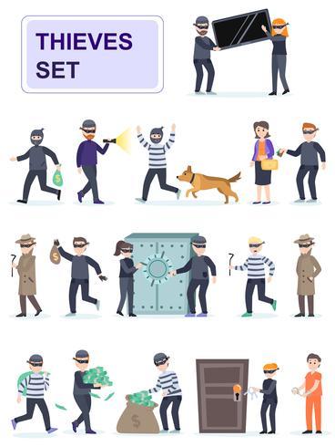 Ensemble de criminels dans des poses différentes