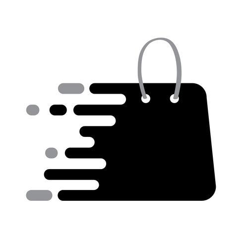 El icono del bolso de compras del logotipo de Abstrack Black con el plack para su texto, vector aislado en el fondo blanco, ilustración