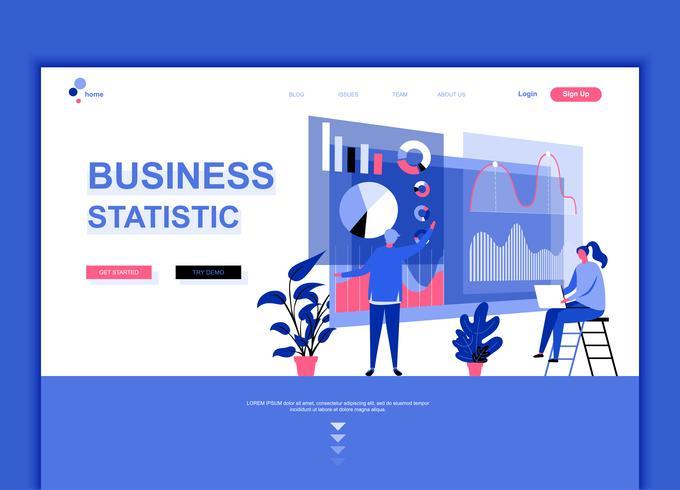 Modernes flaches Webseitendesign-Schablonenkonzept der Geschäftsstatistik