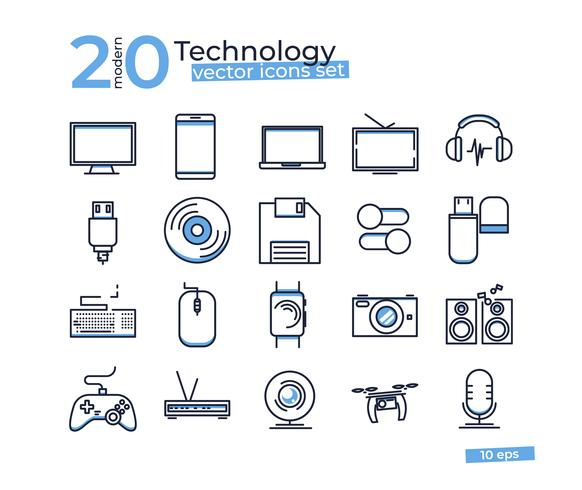Technology object icons set for design online store. Thin line art vector illustrations