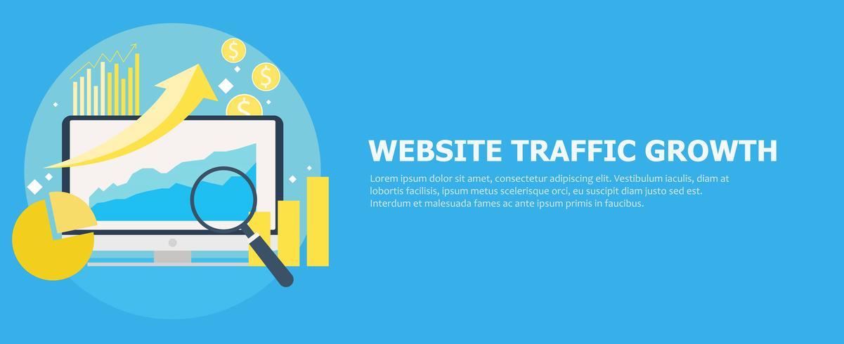 Banner für Website-Traffic-Wachstum. Computer mit Diagrammen, Wachstumscharts. Lupe. Flache Vektorillustration