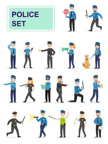 Reeks politieambtenaren die hun werk doen