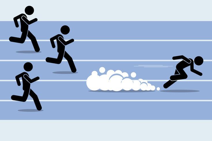 Sprinter rápido do corredor que ultrapassa todos em um evento de campo da trilha de raça.