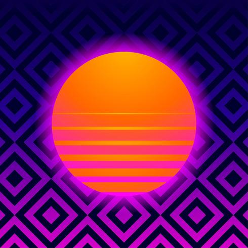 Retro Hintergrund geometrisch mit Vaporwave Sun