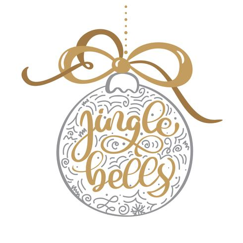 Jingle bells gold vintage calligraphy lettering vector text. For art template design list page, mockup brochure style, banner idea cover, booklet print flyer, poster