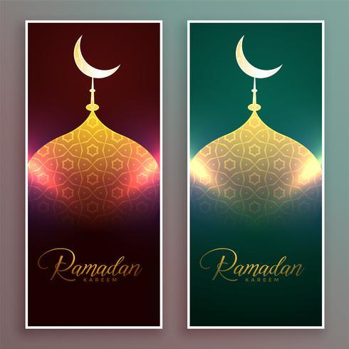 glühender Moscheen-Bannerentwurf für Ramadan-Saison