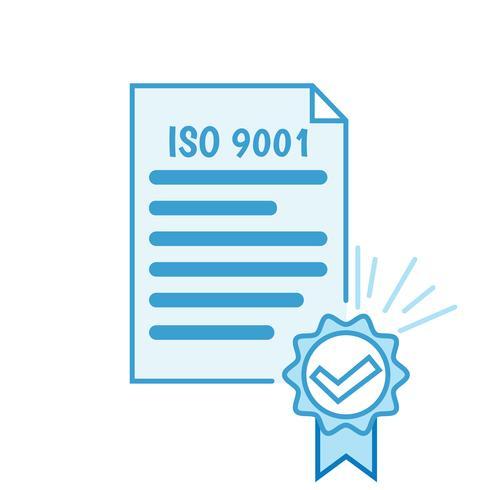 Certificado ISO 9001. Ilustración plana del certificado. icono de línea