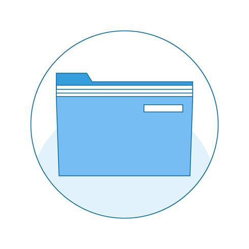 Icône avec un dossier pour le stockage sécurisé des documents et des fichiers sur l'ordinateur. vecteur