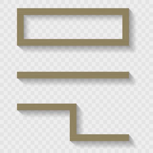 Houten planken voor de woonkamer of winkel. Transparante schaduwen. Vectorafbeeldingen