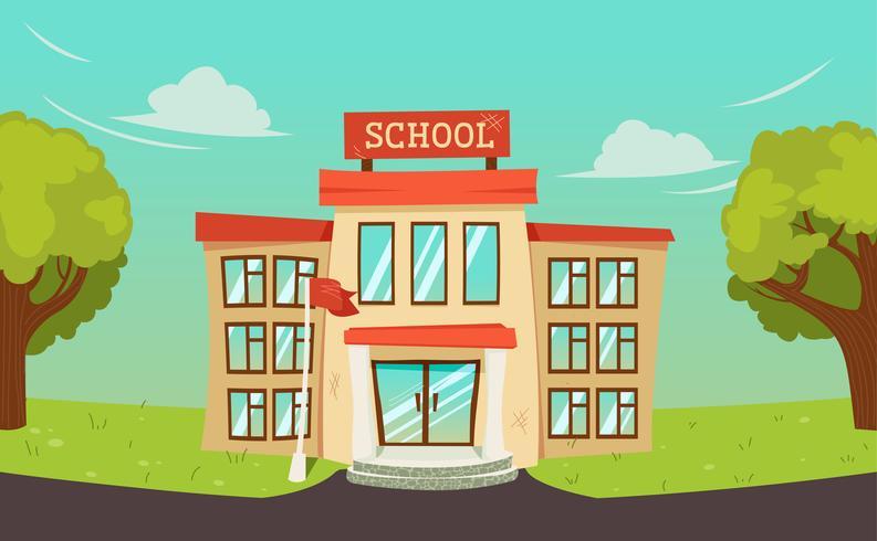 Willkommen zurück in der Schule Banner. Straße mit pädagogischem Gebäude außen und grünem Baum. Vektorkarikaturabbildung