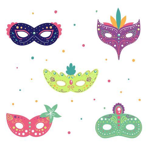 Colección linda del ornamento de la máscara del carnaval