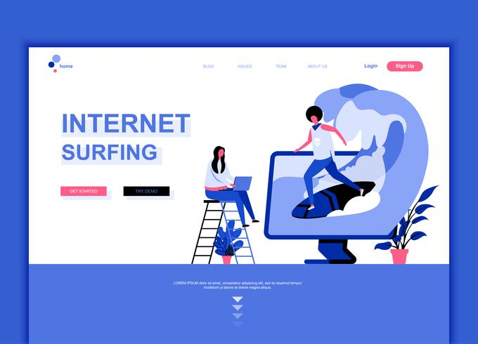 Modernes flaches Webseitendesign-Schablonenkonzept des Internets surfen