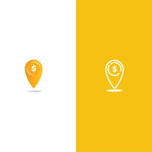 Coin point logo. Location of money logotype. Vector line art and gradient realistic illustration