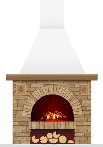 Un antico focolare in mattoni con il fuoco. Arco in mattoni con camino o stufa
