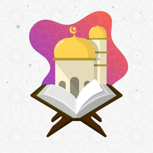 Flat Modern Holy Al Quran Vector Illustration - Download