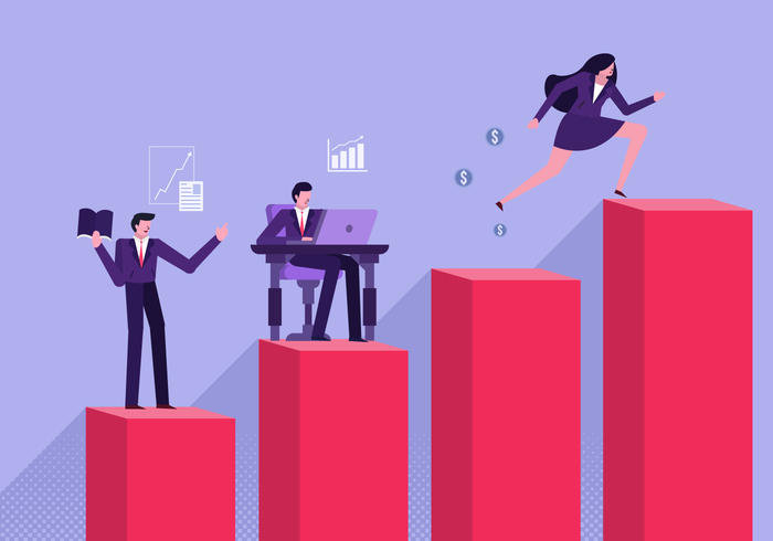 Office Worker Achieving Company Goals Flat Vector Illustration