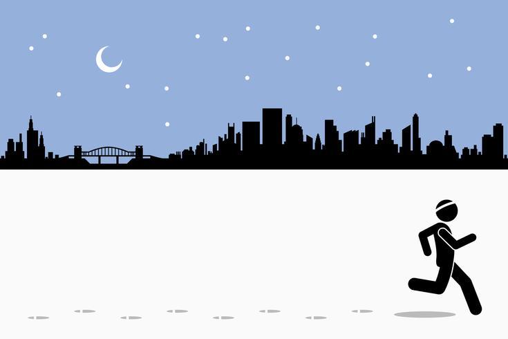 Runner loopt tijdens het verlaten van de voetstappen op het loopveld in de stad tijdens de nacht.
