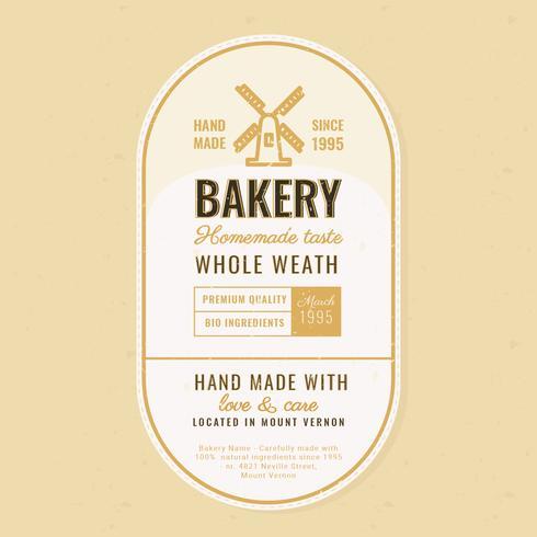 Vector Retro etiqueta de panadería