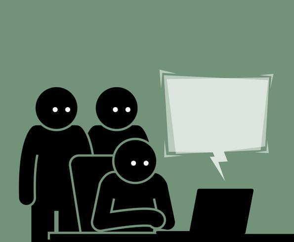 Tres personas viendo una computadora juntos.