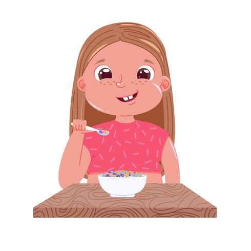 A baby girl eats breakfast in the morning. Sweet dish colorful corn flakes with milk . Vector cartoon illustration