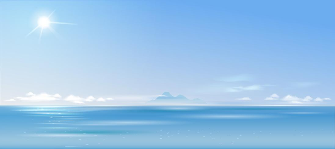 Background cloudy landscape over the sea. Panoramic wide banner. Nature. Vector graphics.